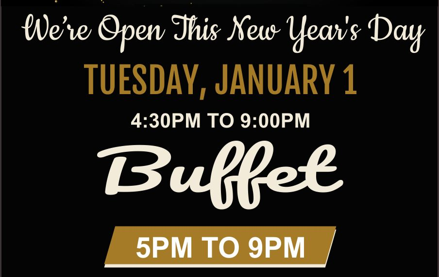We're Open This New Year's Day